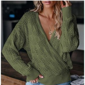 New Knitted Deep V-neck Wrap Sweater